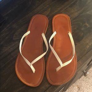 Shoes - White flip-flop sandals size 10